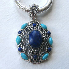 Lapis Lazuli & Turquoise Pendant Set in Sterling Silver