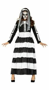 Womens Day of the Dead Costume Skeleton Halloween Fancy Dress Ladies Outfit