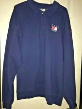 Mens Sweatshirt Long Sleeve Button Up Collared XXL 2XL Blue Reno Nevada NWOT