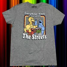 New Pbs Sesame Street Learned on the Street Mens Vintage T-Shirt