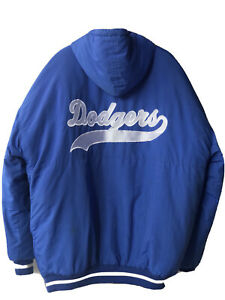 Vintage STARTER MLB LA Los Angeles Dodgers Zipper Insulated Long Jacket Rare XL