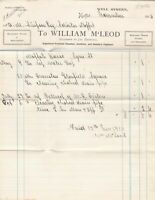 William M'Leod Moffat 1914 House Works Clearing Pipe Etc Paid Invoice Ref 41278