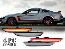 4PCS LED Clear Front + Rear Bumper Side Marker Lights for 10-14 Ford Mustang