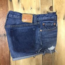 Levis 501 Cutoff Distressed Frayed Blue Denim Shorts Size Tag 28 Button Fly Jean