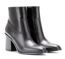 Saint Laurent HUNT Ankle Boot Black Leather side Zipper Bootie 36.5 - 6 YSL