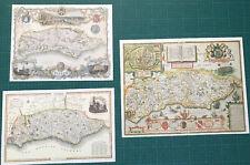 3 x Old Antique Vintage Colour maps of Sussex, England: 1600's & 1800's: Reprint