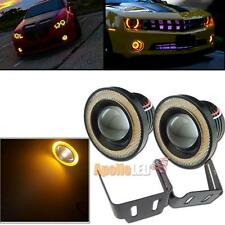 2pcs 3.5'' High Power Projector LED Fog Light w/ Yellow COB Angel Eye Halo Ring