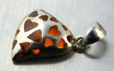Sterling Silver Heart Cut Out Pendant Amber Orange Resin See Through Design 925