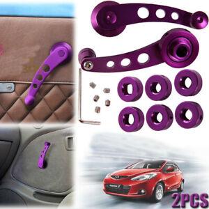 Pair Purple Aluminum Car Truck Pickup Door Window Crank Handle Winder Universal