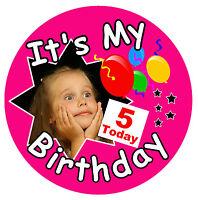 GIRLS BIRTHDAY BIG BADGE (IT'S MY BIRTHDAY) - BIG PERSONALISED, AGE, PHOTO - NEW