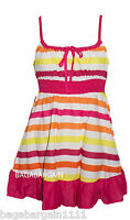 PINK YELLOW WHITE STRIPED SUMMER SUN DRESS TUNIC STRAPPY COTTON BEACH COVER  UP