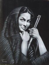 Maria Felix mexican actress legend black velvet oil painting signed art