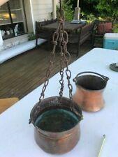 Antique Hanging chain copper Cauldron
