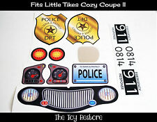 New Replacement Decal Stickers fits Little Tikes Cozy Coupe II Car Police Black
