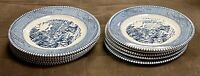"Vintage Currier and Ives The Harvest Blue Bread Butter Plate 6-1/4"" Set of 10"