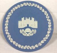 Vintage Blue Jasperware Hampton Court Christmas 1976 Plate 8 Inch Wedgwood
