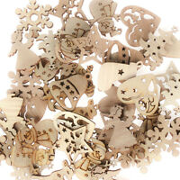 50Pcs Carve Natural Wood Chip Ornaments Christmas Decoration DIY Craft