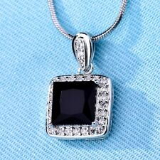 Dazzling Hot Princess Black Sapphire Crystal Gold Filled Pendant Chain Necklace