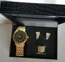 Charles Raymond Men's Paved Rappers Gold Watch Size 10 Ring and Earring Set