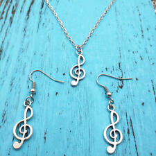 Music notes Necklace earring pendants jewelry,Charm Silver handmade jewelry sets