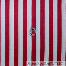 BonEful Fabric FQ Cotton Quilt Red Off White Wide Stripe USA Hero American Flag