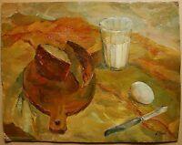 Russian Ukrainian Soviet Oil Painting Still Life realism glass milk bread egg
