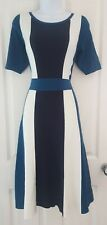 Womens Boden Dress size 12 long heavy knit blue white stripe fit and flare vgc
