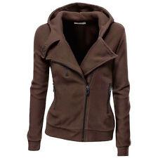 Womens Winter Warm Plain Hooded Slim Coat Jacket Casual Zipper Sportwear Outwear