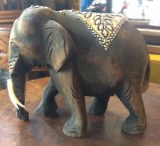 Hand Carved  Elephant Figure Teak Wood Sculpture Home Decor Vintage Gift Thai