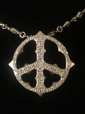 LOREE RODKIN 18K White Gold Diamond Peace Sign Charm pendant chain Necklace!