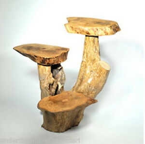 Coffee Root Wooden 3 Leaf Stand Side Table Natural Fair Trade Indoor Outdoor 40