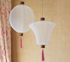 Pottery Barn Kids Hanging White Lantern Set Pink Tassles Girls Bedroom New