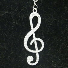 New Alloy & Crystal Musical Note Sweater Pendant on a 3mm Rolo Chain Necklace