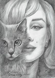 original drawing A5 28SP Modern Art samovar Graphite female portrait with cat
