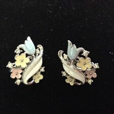 Vintage Trifari Pastel Flower Enamel Rhinestone Clip On Earrings Blue Pink