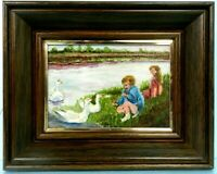 """M.JANE DOYLE SIGNED ORIG.ART~OIL/CANV.PAINTING""""FEEDING THE SWANS""""(AFTER R.DUNCAN"""