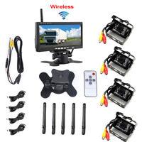 7 inch RV Truck Rear View Monitor w/ 4 Wireless Backup Cameras IR Night Vision