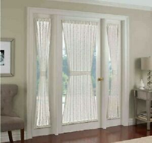"""Crystal Brook Rod Pocket Sidelight Panel ( set of two), White  25""""w x 72""""L"""