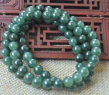 8mm 100% Natural A green Emerald Jade Pendant ~ Necklace Have certificate KK