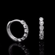 0.20TCW Created Diamond Huggie Hoop Earrings Solid 14K White Gold Round Cut VVS1