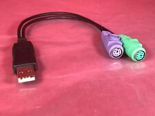 New Black USB to Dual PS/2 PS2 Adapter Converter  for Mouse and Keyboard