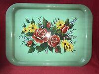 Vintage Jadeite Green Floral Motif Tin Lap Serving Trays, Set Of 6