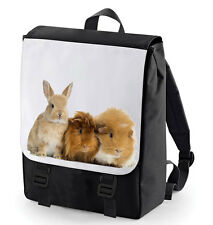 BUNNY & GUINEA PIG  BACK PACK (BAGBASE) CUTE ANIMAL LOVER PERFECT FOR SCHOOL