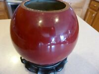Chinese Antique Red Flambe Glazed Brush Washer & Wood Stand Pot Vase