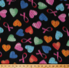 Pink Ribbons Breast Cancer Awareness Hearts on Black Fleece Fabric Print A333.08