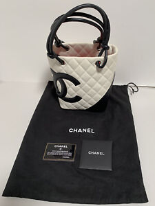 CHANEL Cambon Small Tote Bag Lamb Leather White Black Coco with Dust Bag Nice