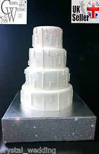 "Diamante cake stand stage Square 4"" deep+ FREE GIFT 3 meters cake ribbon trim"