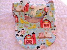 "Handmade Flannel ""Farm"" Receiving Baby Blanket and matching bib"