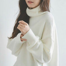 Women Jumper Sweater Cotton Soft Turtleneck Loose Pullover Base Knit Top White