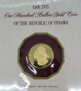 1975 Panama 100 Balboa Pf GOLD Coin .2361AGW Franklin Mint L10017